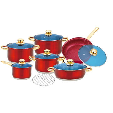 13pcs Cookware Set with Red Painted Finish